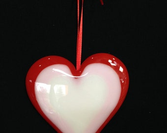 Fused glass love heart to hang.  For Valentines day or to express your love