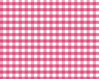 "Hot Pink White Medium PRINTED Gingham - Riley Blake Designs - 1/4"" Quarter Inch Checker - Quilting Cotton Fabric - choose your cut"