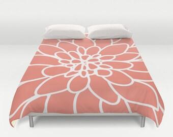 Modern Dahlia Flower Duvet Cover - Coral Duvet Cover - Queen Size Duvet Cover - King Size Duvet Cover