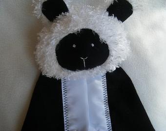 Cute Little Black and White Lamb Security Blanket - Blanket Buddy - 100% HANDMADE