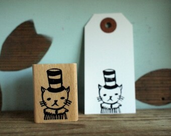cat with a hat - rubberstamp - 30x40mm - by SiebenMorgen
