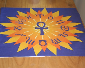 Tarot Cloth or Altar Cloth - Ankh and Horoscope - Pagan Altar Cloth - Wiccan Altar Cloth - For use anytime in the Wheel of the Year