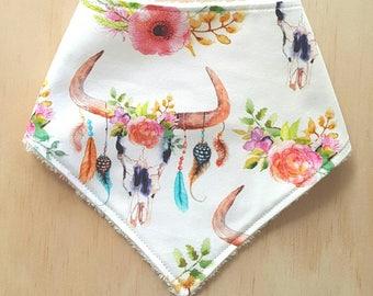 Baby Bandana Bib - Floral Skull Bib. Dribble Bib. Baby Bib. Boho. Tribal. Baby Shower Gift.