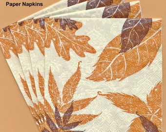 PN090 Paper Napkins by CR Gibson ~ 5x5 ~ Falling Leaves Autumn ~ Set of 4
