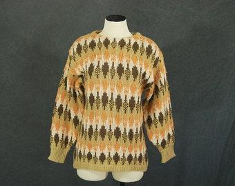vintage 70s Tribal Sweater - 1970s Southwestern Pullover Boyfriend Sweater Top SZ M L