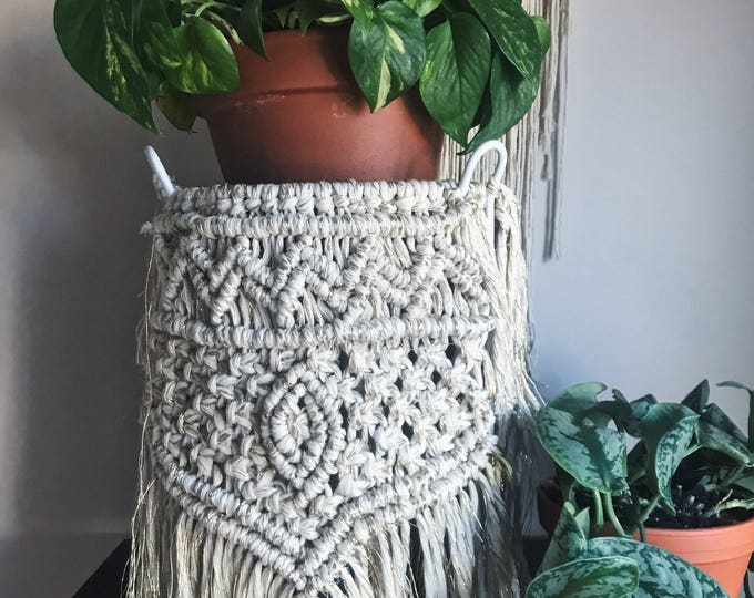 Macrame Plant Stand -  cotton and gold string