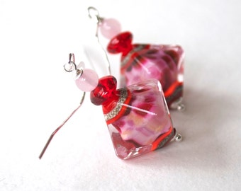 Pink Diamond Earrings, Lampwork Glass Earrings, Glass Bead Earrings, Red Earrings