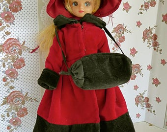 VINTAGE VELVETEEN COAT, Muff and Feathered Hat - Victorian/Edwardian Style for most 9in/20cm dolls like Licca Chan, Madame Alex's Portrette