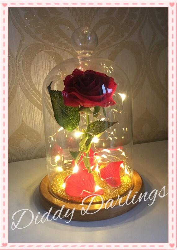 Belle jarre rose belle et la b te magique cloche rose avec ou - Rose sous cloche la belle et la bete ...