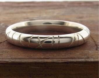 Wedding ring, white gold 18ct Dragonfly 3mm band, unique original ladies handmade 3mm court design.