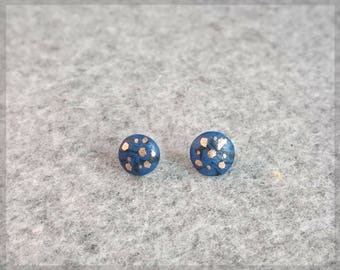 no.209 Small Black and Blue Porcelain Sterling Silver Stud Earrings with a touch of Gold