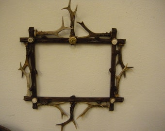 Antique Black Forest Antler Picture Frame