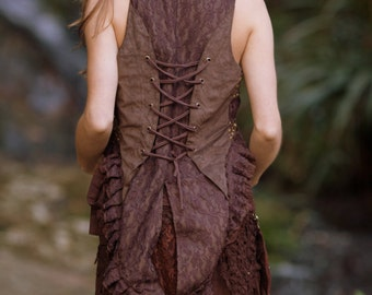 Steampunk Burlesque Vest (Brown) - Festival Clothing Gypsy Festival Boho Style Corset Vest Back Burlesque Waistcoat Steampunk Vest Bohemian