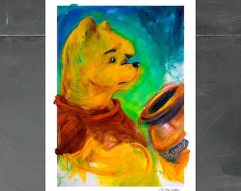 Winnie the Pooh nursery art, unique kids art, Pooh Bear Wall art, Playroom Decor, Disney Character, boy, girl, prints