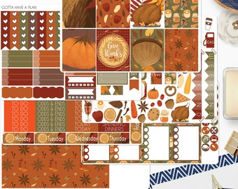 Planner Stickers Give Thanks Weekly Kit for Erin Condren, Happy Planner, Filofax, Scrapbooking