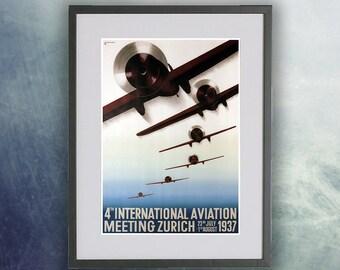 Vintage Aviation poster, 1937 International Aviation Meeting - Zurich - Print Unframed