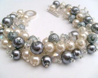 Cluster Pearl Bracelet, Bridal Jewelry, Wedding, Pearl Bridesmaid Bracelet, Pearl Bracelet, Ivory and Silver Gray Pearl Jewelry by Kim Smith