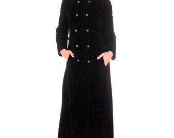 Vintage Long 1970s Coat Black Velvet Maxi Great Rhinestone Buttons M