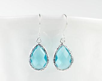 Aquamarine Silver Framed Teardrop Earrings, Aquamarine Silver Dangle Earrings, March Birthstone Silver Earrings, Bridal Earrings