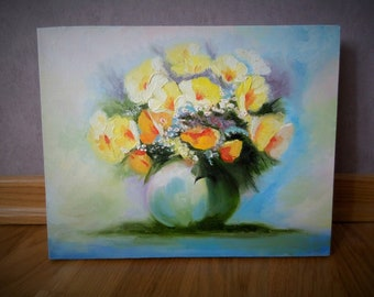 Painting Summer bouquet, oil on canvas