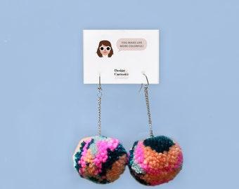 Rainbow Pom Pom Earrings