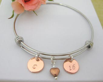 Special Birthday Gift Personalised Bangle Personalised Bracelet Rose Gold Initial 16th 18th 21st 30th 40th Heart Charms UK Seller