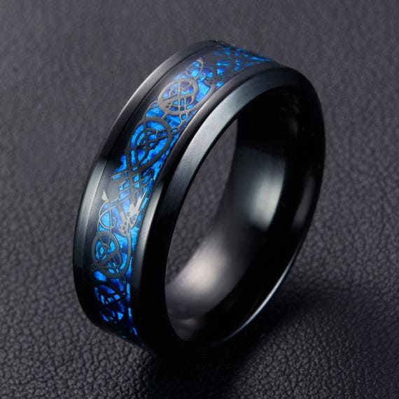 Mens Rings Wedding Band 8mm Blue Celtic Dragon Ring Size 7,8,9,10 Tungsten Carbide Ring Promise Ring Mens Bands Jewelry Black Dragon Ring