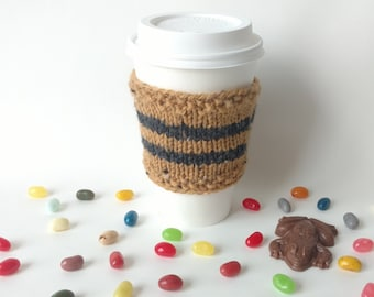 Harry Potter Knit Coffee Cup Cozy Hufflepuff House Sleeve To-Go Cup / Teacher Neighbor Friend Family Gift Present Stocking Stuffer