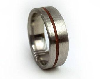 Dinosaur Bone Ring, Brushed Titanium Ring, Archaeology, Geologist Gift, Red Ring, Gray Ring, Brushed Wedding Band, Handmade Jewelry, Ring