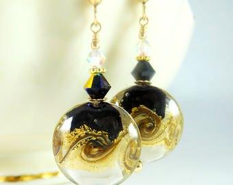 Black White Gold Murano Glass Dangle Earrings, Wave Earrings, Modern Jewelry, Shimmering Gold, Beach Jewelry, Nautical Gold Filled Earrings,