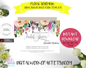 Floral Bridal Shower Invitation Template, DIY Floral Bohemian Bridal Shower Invite Editable PDF, instant download, boho wedding