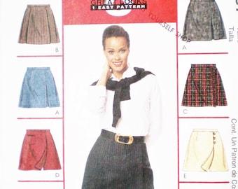Playful 1990s Easy Skort Pattern McCall's 9487 Sizes 10-12-14 - 8 variations, back zipper, waistband, slit, button closure,pocket, kilt look