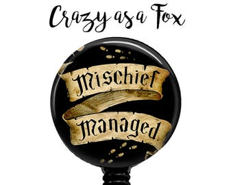 Mischief Managed Retractable Badge Holder,  Badge Reel, Lanyard, Stethoscope ID Tag, Nurse, RN, Student, Harry Potter inspired