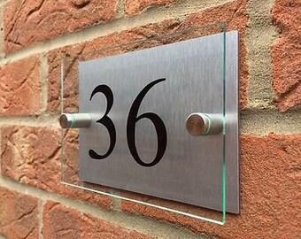 Modern house sign plaque door number glass acrylic aluminium