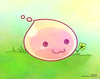 Cute Little Gumdrop Poring Monster Anime Art High Quality Print