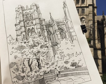 Urban sketch, The Cathedral Church of St. John the Divine, New York, Original artwork