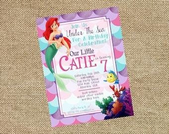 Ariel Little Mermaid Birthday Invitation