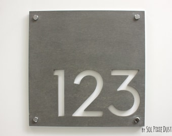 Modern House Numbers, Square Concrete with White Acrylic - Contemporary Home Address - Sign Plaque - Door Number