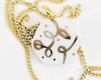 VINE HEX PORCELAIN & Gold Pendant /// ceramic jewelry, clay pendant, clay bead, clay necklace, porcelain jewelry, porcelain pendant