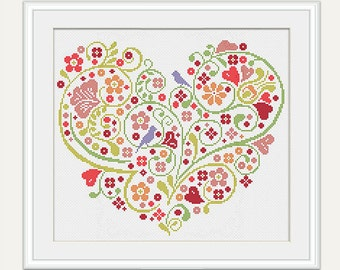 Scheme for cross stitch - Wedding Cross Stitch Pattern - Heart Cross Stitch- Wedding Gift - Embroidery- PDF - INSTANT DOWNLOAD