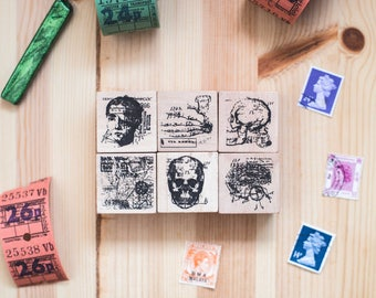 Anatomy series: Full set of 6 - decorative wooden planner stamp suitable for planning, journaling and happy mail -FFW-