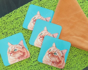 Orange Cat Coasters, Coasters for Cat Lovers, Housewarming Gift for Cat Lover, Gift for Mom, Affordable Gift for Pet Lover