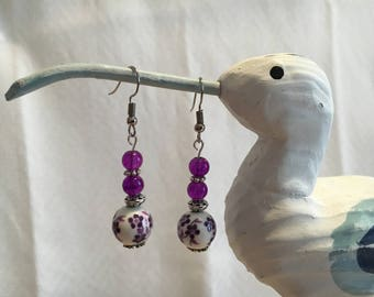 Purple and white bead earrings