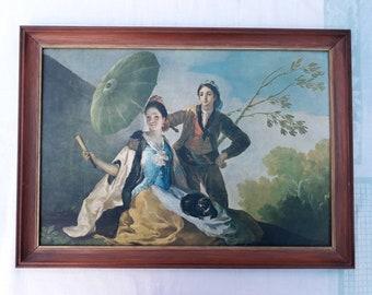 "Spanish painter Francisco Goya vintage ""The Parasol"" print in wooden frame"
