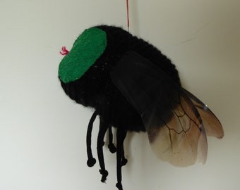 Handmade knitted fly: one-off, original art work (conceptual art)
