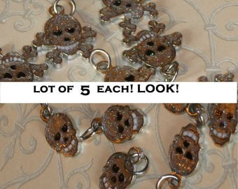LOT of FIVE of EACH glitter charm skull and skull and crossbone (jolly roger) w/ jump rings destash hearts love halloween punk goth costume