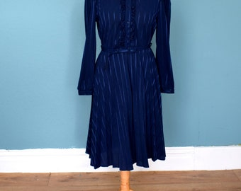 Vintage 80's Dark Blue Ruffle Dress UK Size 12