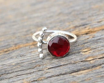 Red Garnet Quartz Ring / 925 Solid Sterling Silver Ring / Faceted Round Gemstone Ring / Bohemian Ring / Gift For Her /Select Your Size RM131