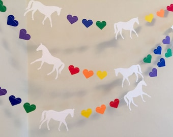 Horse birthday Garland - Cowgirl Birthday decorations - Rainbow Pony garland - Horse banner - your color choice