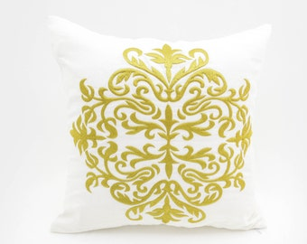 Damask Pillow Cover, White Linen Gold Damask Embroidery, Classic Home Decor, Gold Accent Pillow, Cushion Cover